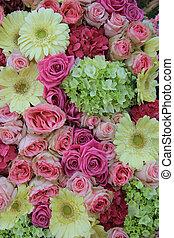 cor-de-rosa, nupcial, flores, amarela