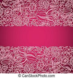 cor-de-rosa, ornamental, cartão, com, renda