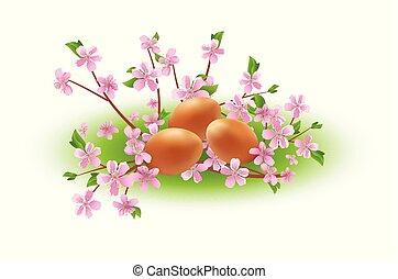 cor-de-rosa, ovos, vetorial, ramos, flores