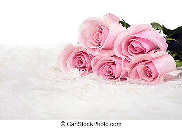 cor-de-rosa, pérolas, pele, rosas