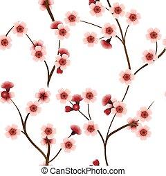 cor-de-rosa, padrão, flores, seamless, cereja