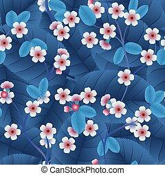 cor-de-rosa, padrão folha, seamless, cereja, flores