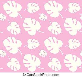 cor-de-rosa, padrão, folhas, isolado, monstera, vetorial, palma, seamless, fundo, branca