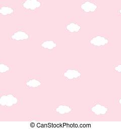 cor-de-rosa, padrão, nuvens brancas