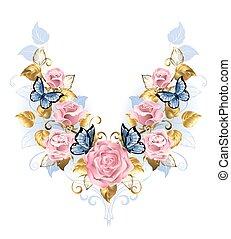 cor-de-rosa, padrão, rosas