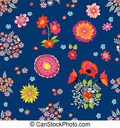 cor-de-rosa, padrão, seamless, outono, vetorial, retro, motifs., bouquets., vermelho