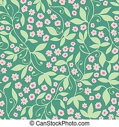 cor-de-rosa, padrão, seamless, vetorial, experiência verde, floral, tendril