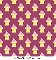 cor-de-rosa, padrão, vetorial, fundo, cupcake