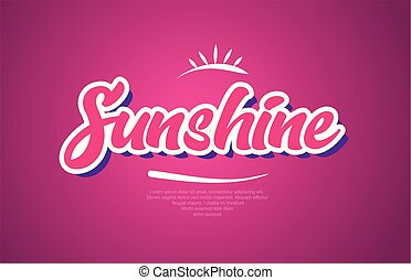 cor-de-rosa, palavra, texto, sol, tipografia, desenho, ícone