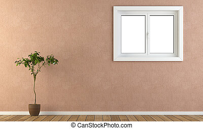 cor-de-rosa, parede, com, janela, e, planta