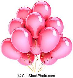 cor-de-rosa, partido, balões, hélio, clássicas