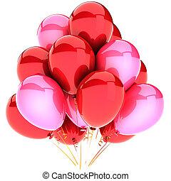 cor-de-rosa, partido, balões, romanticos
