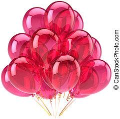 cor-de-rosa, partido, balões, translúcido