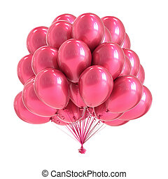 cor-de-rosa, partido, balloon, grupo, romanticos, colorful.,...
