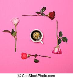 cor-de-rosa, pastel, café, coloridos, copo, quadro, -, apartamento, meio, configuração, fundo, perfeitos, fresco, rosas