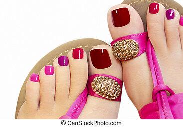 cor-de-rosa, pedicure.