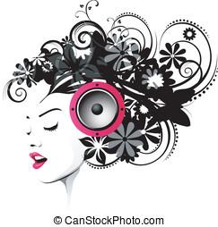 cor-de-rosa, penteado, orador