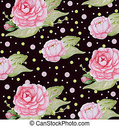 cor-de-rosa, peonies, romanticos, peony, marrom, padrão, aquarela, papel, fundo, escuro, scrapbook, flores, textura