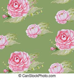 cor-de-rosa, peonies, romanticos, peony, padrão, aquarela, papel, experiência verde, scrapbook, flores, textura