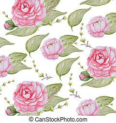 cor-de-rosa, peonies, romanticos, peony, padrão, aquarela, papel, fundo, scrapbook, flores brancas, textura