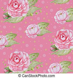 cor-de-rosa, peonies, romanticos, peony, padrão, aquarela, papel, fundo, scrapbook, flores, textura