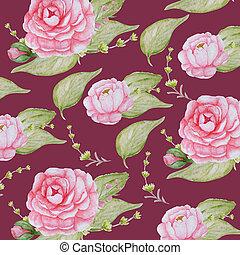 cor-de-rosa, peonies, romanticos, peony, videira, padrão, aquarela, papel, fundo, scrapbook, flores, vermelho, textura