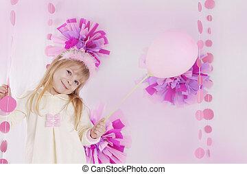 cor-de-rosa, pequeno, balloon, partido aniversário, decorado, menina