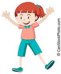 cor-de-rosa, pequeno, camisa, menina