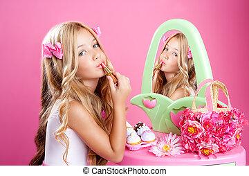 cor-de-rosa, pequeno, moda, batom, boneca, maquilagem, menina, crianças, vaidade