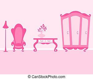 cor-de-rosa, pequeno, sala, princesa