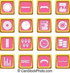 cor-de-rosa, pessoas, vário, ícones