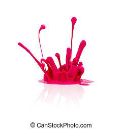 cor-de-rosa, pintura, branca, respingo