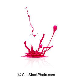 cor-de-rosa, pintura, branca, respingo, isolado