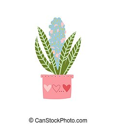 cor-de-rosa, planta, natural, casa, ilustração, elemento, decoração, crescendo, vetorial, desenho, florescer, interior, lar, pote