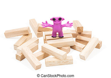 cor-de-rosa, plasticine, bom, monstro
