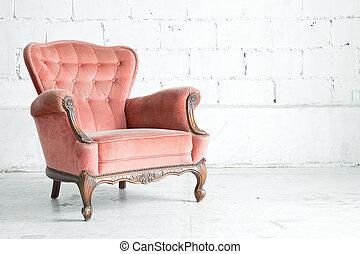 cor-de-rosa, poltrona, clássico