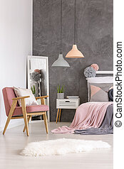 cor-de-rosa, poltrona, pastel, quarto