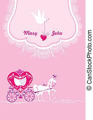 cor-de-rosa, pomba, cavalo, renda, carriage., ornament., -, saudação, mão, floral, fundo, convite, text., desenhado, branca, cartão
