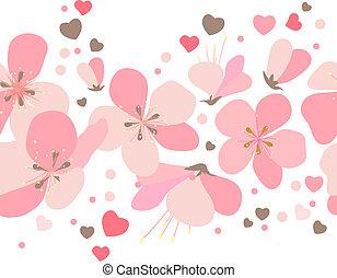 cor-de-rosa, pontos, feito, cereja, seamless, flores, borda