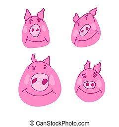 cor-de-rosa, porquinho, porca, família, jogo, doodle, rosto, piggy, caráteres, doodles, desenhado, áspero, mão, style.