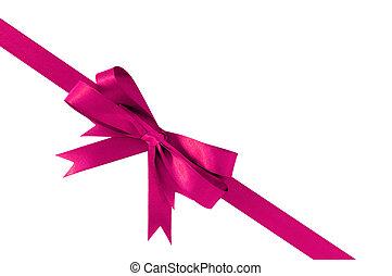 cor-de-rosa, presente, diagonal, arco, canto, fita