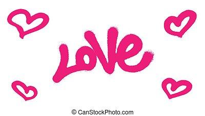 cor-de-rosa, pulverizado, amor, illustration., overspray, sobre, vetorial, graffiti, white., fonte