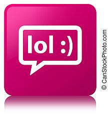 cor-de-rosa, quadrado, botão, lol, bolha, ícone