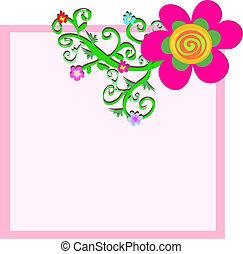 cor-de-rosa, quadro, caixa, com, flor, e, videiras