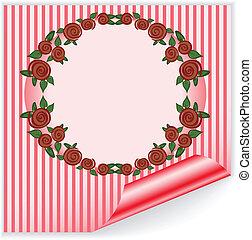 cor-de-rosa, quadro, com, curvado, canto