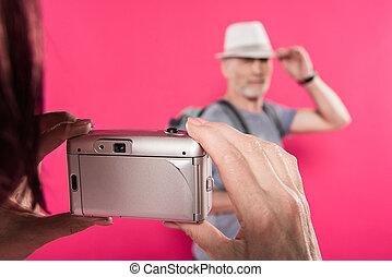 cor-de-rosa, quadro, mulher, levando, foco, isolado, seletivo, elegante, marido