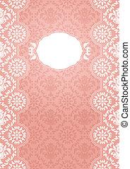 cor-de-rosa, quadro, -, ornate