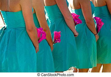 cor-de-rosa, quentes, flores, damas honra, segurando
