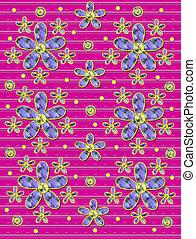 cor-de-rosa, quentes, flores, tecido, listras