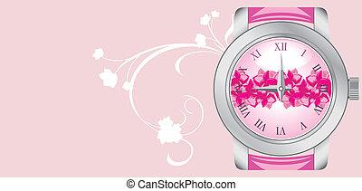 cor-de-rosa, relógio, fundo, femininas